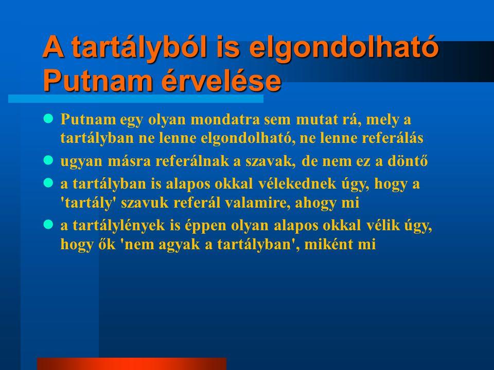 A tartályból is elgondolható Putnam érvelése Putnam egy olyan mondatra sem mutat rá, mely a tartályban ne lenne elgondolható, ne lenne referálás ugyan