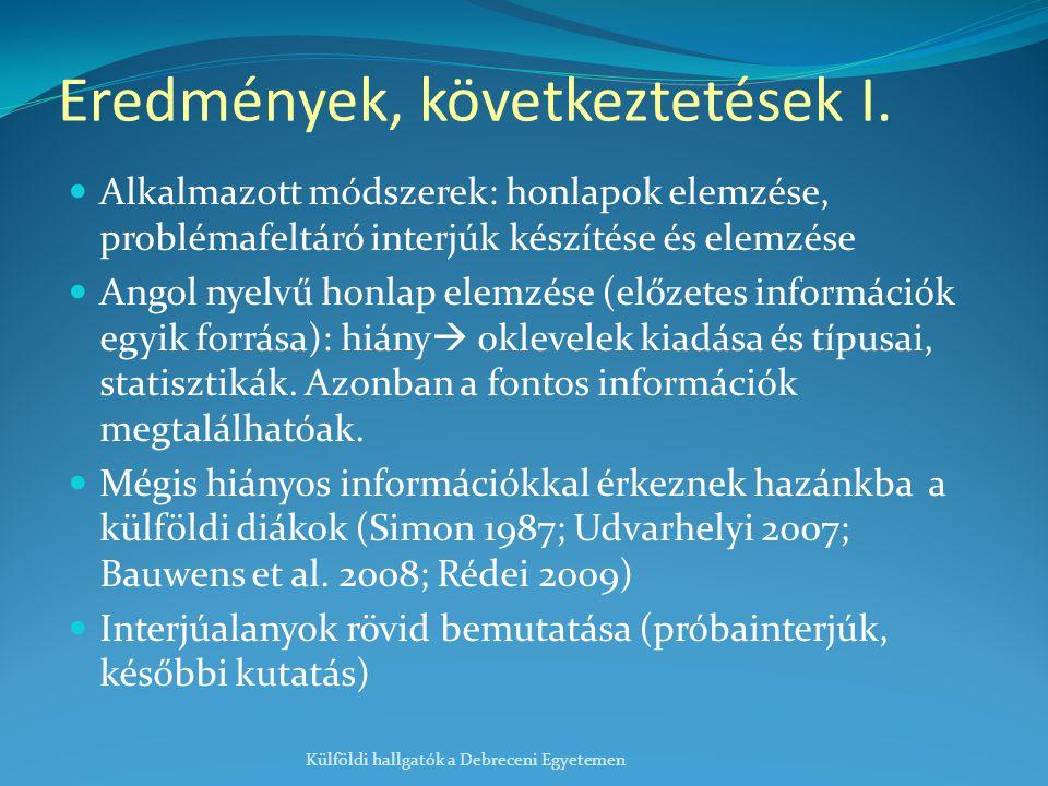 Eredmények, következtetések I. Alkalmazott módszerek: honlapok elemzése, problémafeltáró interjúk készítése és elemzése Angol nyelvű honlap elemzése (