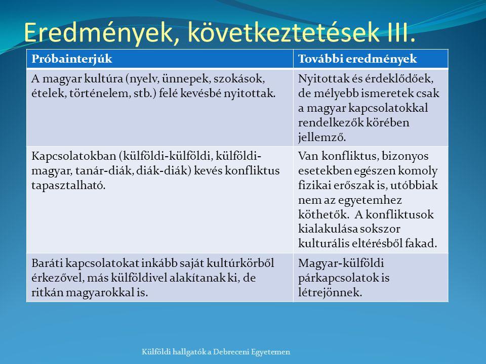 Eredmények, következtetések III.