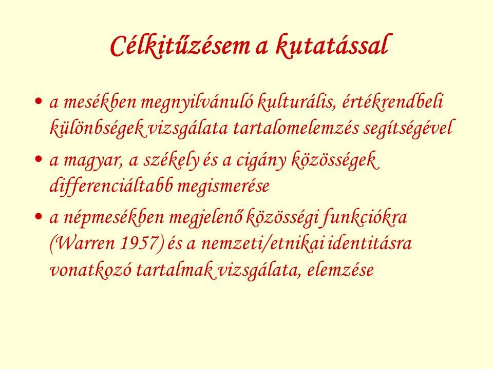 Szakirodalmi áttekintés A mesével kapcsolatos elméleti kérdések –a mese definiálása, definiálhatatlansága; a mese mint irodalmi műfaj; a mesegyűjtés megindulása, jellegzetességei; a mesekutatás; a mesék pszichológiája; a mesék szimbolikája; a népmesék aktualitásának kérdése A közösség és identitás értelmezési aspektusai –a közösség kifejezés definiálása, a közösség definíció történeti változása; a Warren-féle közösségi funkciók; az identitás definiálása – nemzeti/etnikai identitás, kisebbségi identitástudat, fenyegetett identitás A székelység és a székely népmesék; a cigányság és a cigány népmesék