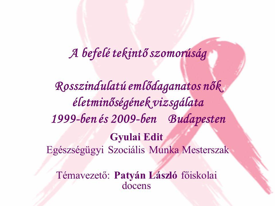 A befelé tekintő szomorúság Rosszindulatú emlődaganatos nők életminőségének vizsgálata 1999-ben és 2009-ben Budapesten Gyulai Edit Egészségügyi Szociá