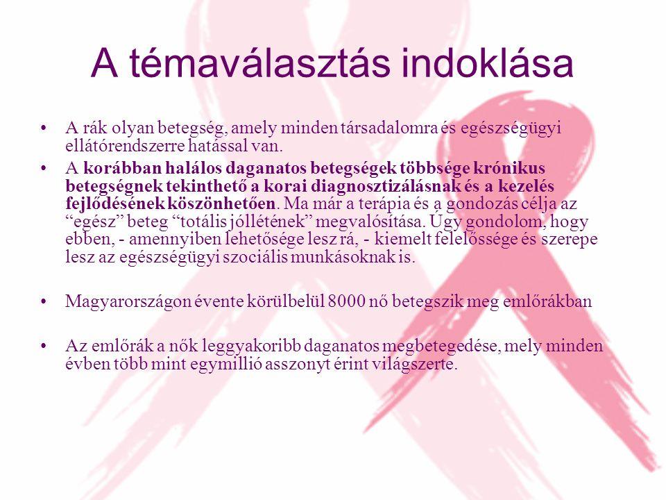A témaválasztás indoklása A rák olyan betegség, amely minden társadalomra és egészségügyi ellátórendszerre hatással van. A korábban halálos daganatos