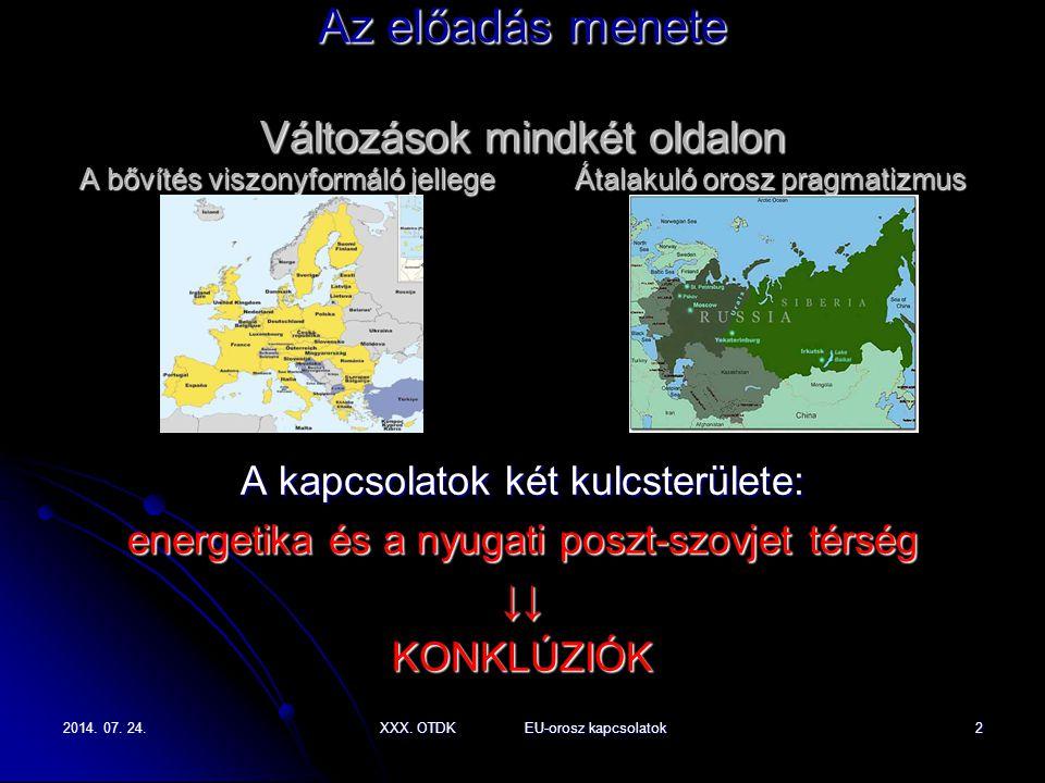 2014. 07. 24.2014. 07. 24.2014. 07. 24.XXX. OTDK EU-orosz kapcsolatok2 Az előadás menete Változások mindkét oldalon A bővítés viszonyformáló jellege Á