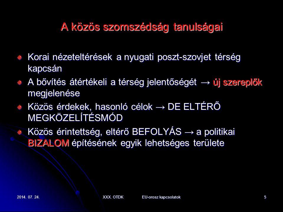 2014. 07. 24.2014. 07. 24.2014. 07. 24.XXX. OTDK EU-orosz kapcsolatok5 A közös szomszédság tanulságai Korai nézeteltérések a nyugati poszt-szovjet tér
