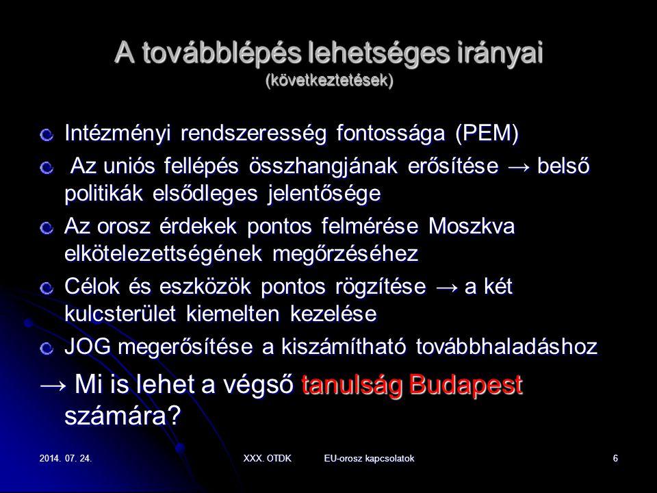 2014. 07. 24.2014. 07. 24.2014. 07. 24.XXX. OTDK EU-orosz kapcsolatok6 A továbblépés lehetséges irányai (következtetések) Intézményi rendszeresség fon