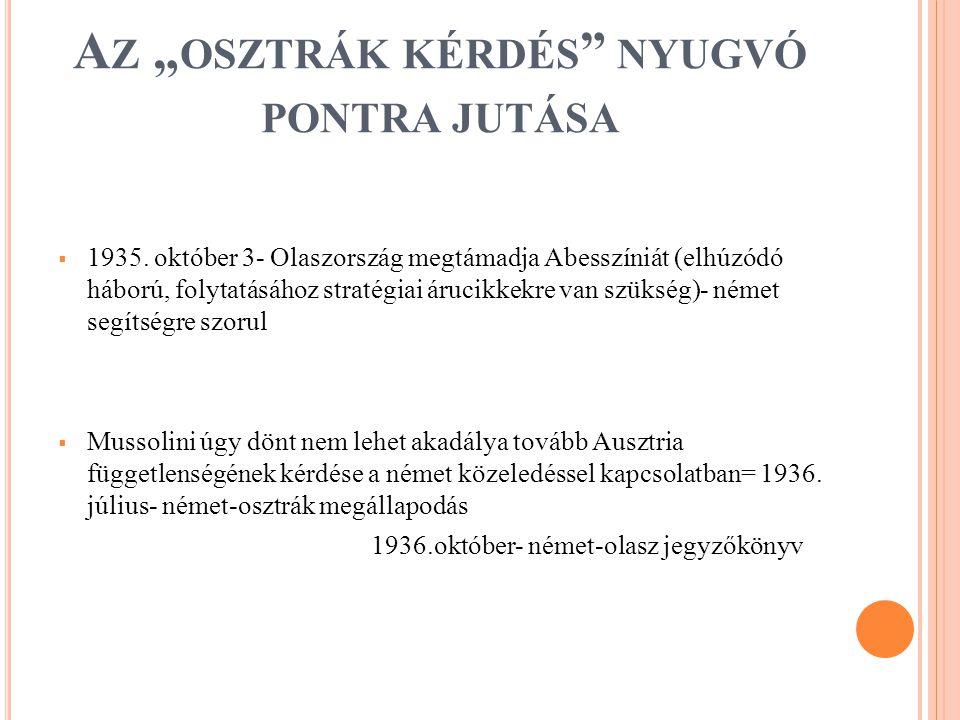 """A Z """" OSZTRÁK KÉRDÉS NYUGVÓ PONTRA JUTÁSA  1935."""