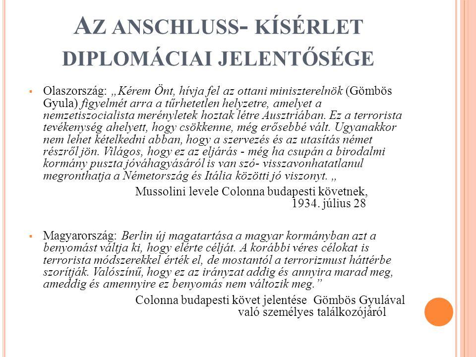 """A Z ANSCHLUSS - KÍSÉRLET DIPLOMÁCIAI JELENTŐSÉGE  Olaszország: """"Kérem Önt, hívja fel az ottani miniszterelnök (Gömbös Gyula) figyelmét arra a tűrhetetlen helyzetre, amelyet a nemzetiszocialista merényletek hoztak létre Ausztriában."""
