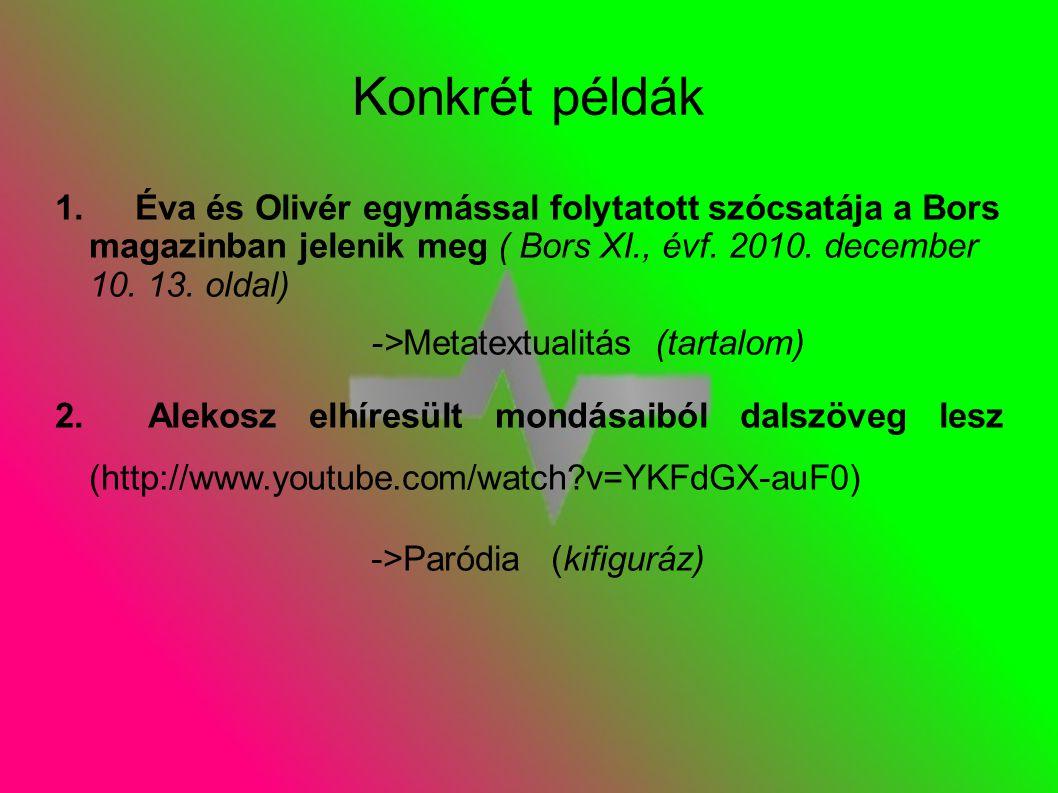Konkrét példák 1.Éva és Olivér egymással folytatott szócsatája a Bors magazinban jelenik meg ( Bors XI., évf.