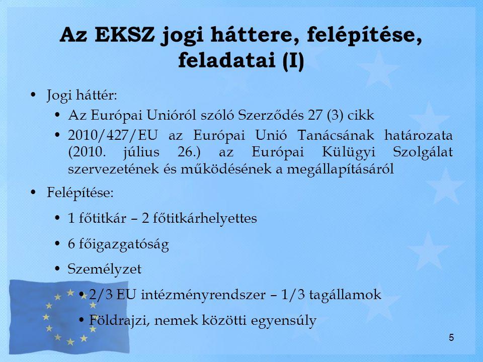 Az EKSZ jogi háttere, felépítése, feladatai (I) Jogi háttér: Az Európai Unióról szóló Szerződés 27 (3) cikk 2010/427/EU az Európai Unió Tanácsának határozata (2010.