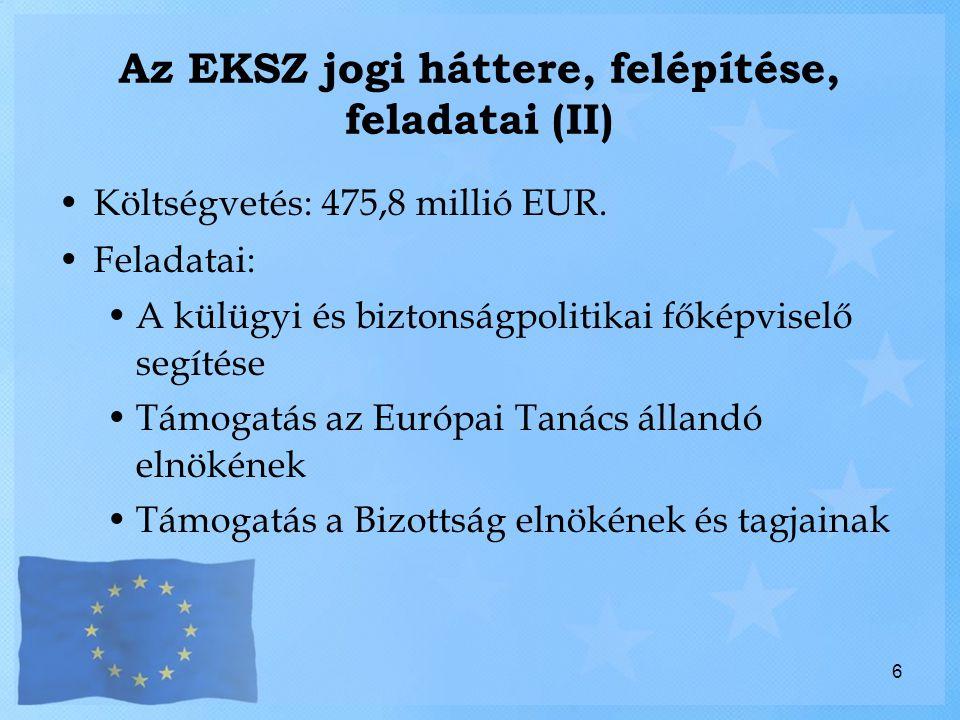 Az EKSZ az EU intézményi rendszerében (I) Az EKSZ sui generis jellegű, önálló, autonóm szerv Állandó elnök – külügyi és biztonságpolitikai főképviselő Saját szintjén az EU külképviseletének ellátása A másik hatáskörének sérelme nélkül Külügyi és biztonságpolitikai főképviselő – Bizottság KKBP a főképviselő hatásköre Külkapcsolatok egyéb területei a Bizottság hatáskörébe tartoznak, így a bővítés is 7