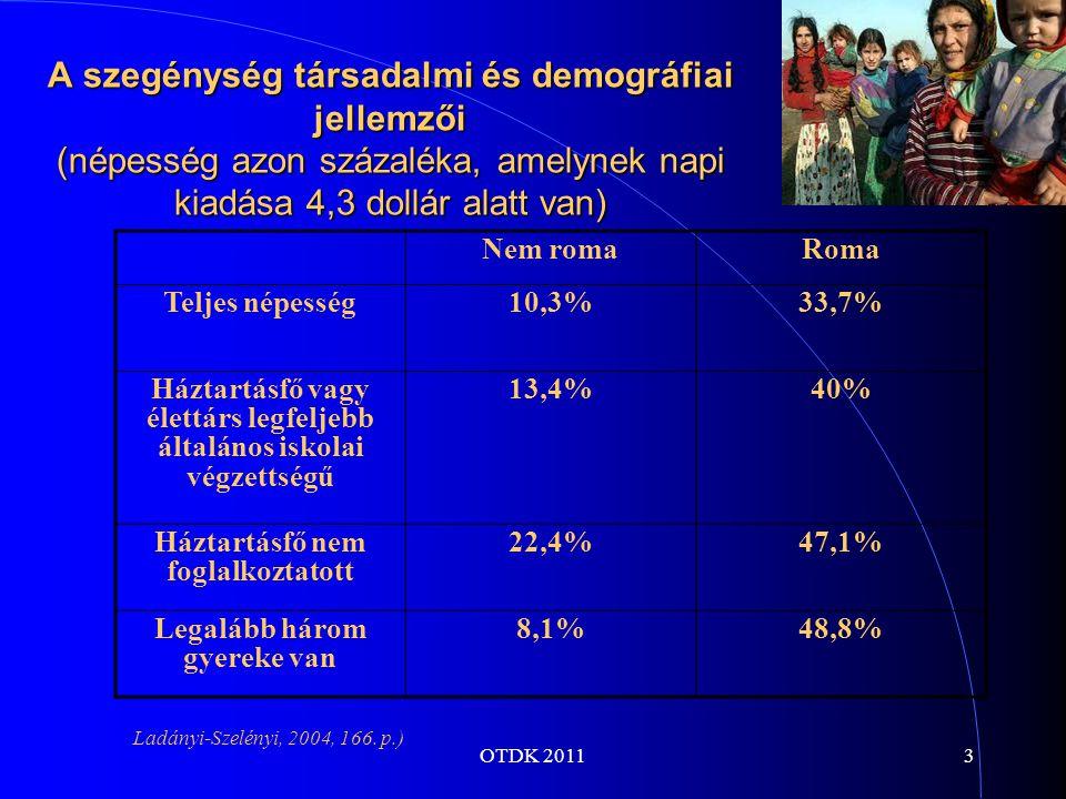 OTDK 20113 A szegénység társadalmi és demográfiai jellemzői (népesség azon százaléka, amelynek napi kiadása 4,3 dollár alatt van) Nem romaRoma Teljes népesség10,3%33,7% Háztartásfő vagy élettárs legfeljebb általános iskolai végzettségű 13,4%40% Háztartásfő nem foglalkoztatott 22,4%47,1% Legalább három gyereke van 8,1%48,8% Ladányi-Szelényi, 2004, 166.