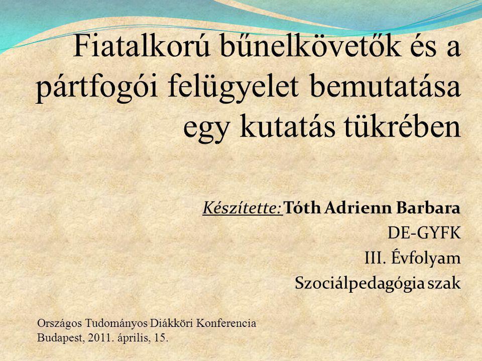 Készítette: Tóth Adrienn Barbara DE-GYFK III. Évfolyam Szociálpedagógia szak Országos Tudományos Diákköri Konferencia Budapest, 2011. április, 15.