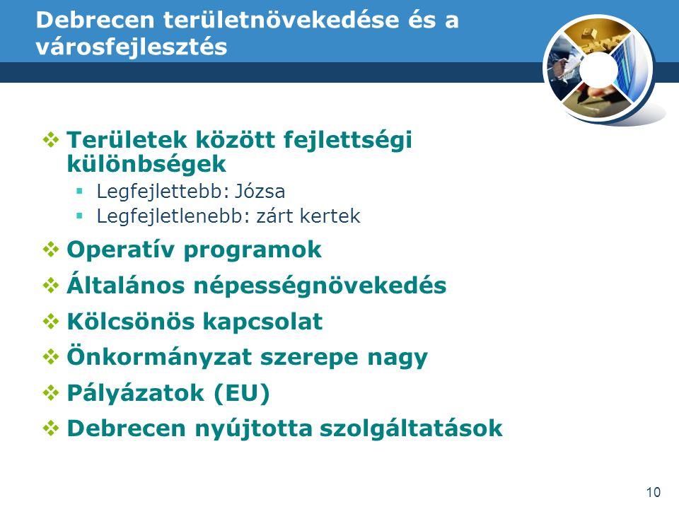 Debrecen területnövekedése és a városfejlesztés 10  Területek között fejlettségi különbségek  Legfejlettebb: Józsa  Legfejletlenebb: zárt kertek  Operatív programok  Általános népességnövekedés  Kölcsönös kapcsolat  Önkormányzat szerepe nagy  Pályázatok (EU)  Debrecen nyújtotta szolgáltatások