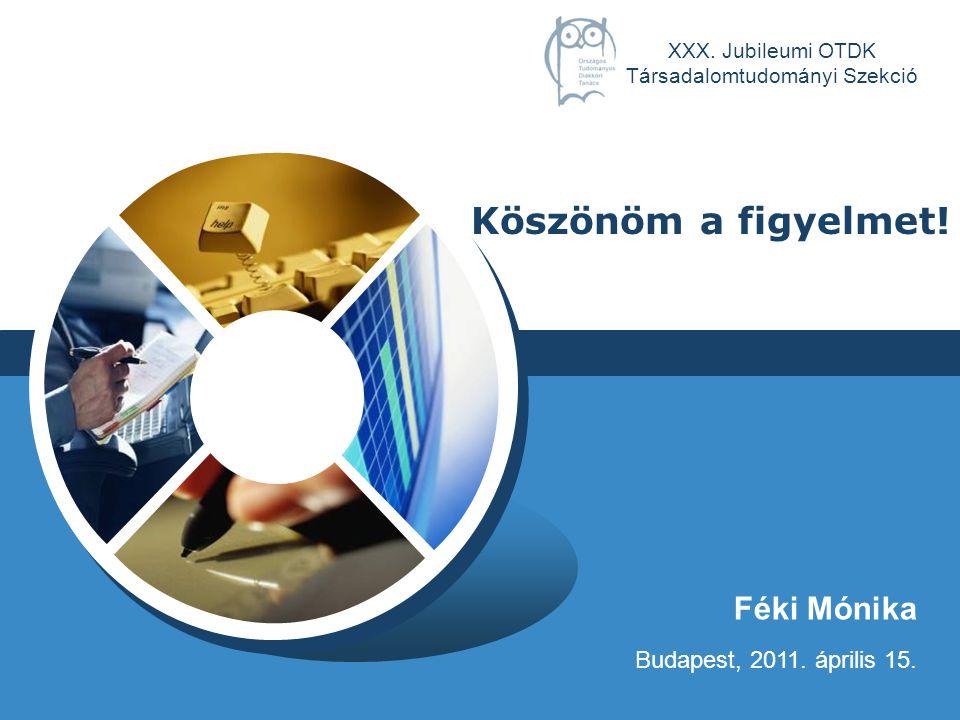 LOGO Féki Mónika Budapest, 2011.április 15. Köszönöm a figyelmet.
