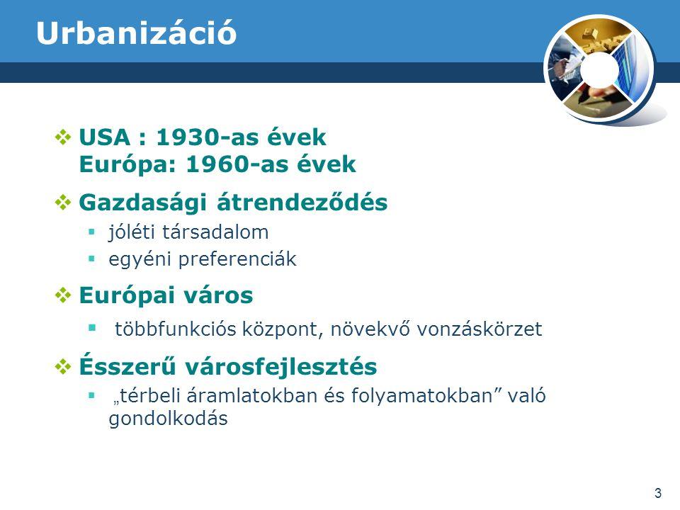"""Urbanizáció  USA : 1930-as évek Európa: 1960-as évek  Gazdasági átrendeződés  jóléti társadalom  egyéni preferenciák  Európai város  többfunkciós központ, növekvő vonzáskörzet  Ésszerű városfejlesztés  """" térbeli áramlatokban és folyamatokban való gondolkodás 3"""