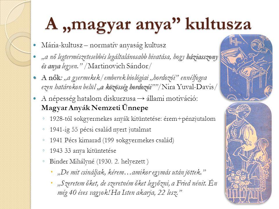 """A """"magyar anya"""" kultusza Mária-kultusz – normatív anyaság kultusz háziasszony és anya """"a nő legtermészetesebbés legáltalánosabb hivatása, hogy háziass"""