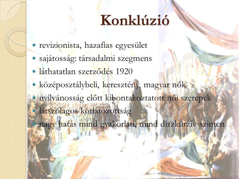 Konklúzió revizionista, hazafias egyesület sajátosság: társadalmi szegmens láthatatlan szerződés 1920 középosztálybeli, keresztény, magyar nők nyilván