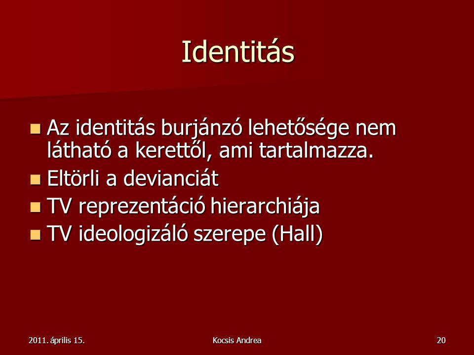 2011. április 15.Kocsis Andrea20 Identitás Az identitás burjánzó lehetősége nem látható a kerettől, ami tartalmazza. Az identitás burjánzó lehetősége