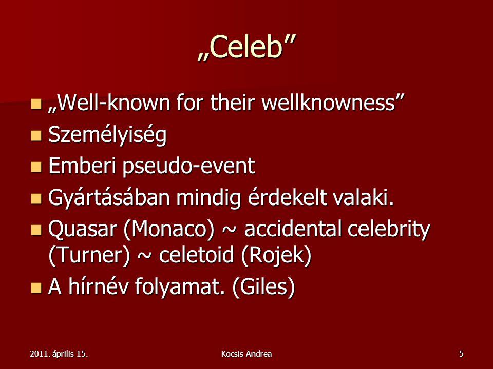 """2011. április 15.Kocsis Andrea5 """"Celeb"""" """"Well-known for their wellknowness"""" """"Well-known for their wellknowness"""" Személyiség Személyiség Emberi pseudo-"""