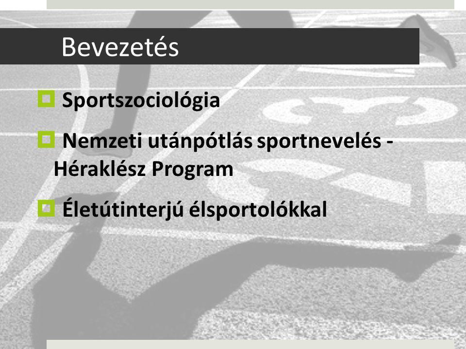 Bevezetés  Sportszociológia  Nemzeti utánpótlás sportnevelés - Héraklész Program  Életútinterjú élsportolókkal