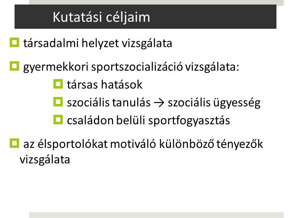 Kutatási céljaim  társadalmi helyzet vizsgálata  gyermekkori sportszocializáció vizsgálata:  társas hatások  szociális tanulás → szociális ügyesség  családon belüli sportfogyasztás  az élsportolókat motiváló különböző tényezők vizsgálata