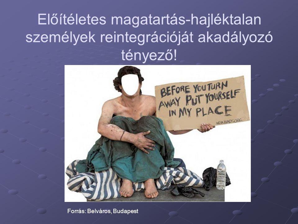 Előítéletes magatartás-hajléktalan személyek reintegrációját akadályozó tényező! Forrás: Belváros, Budapest