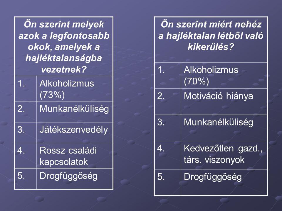 Ön szerint melyek azok a legfontosabb okok, amelyek a hajléktalanságba vezetnek? 1.Alkoholizmus (73%) 2.Munkanélküliség 3.Játékszenvedély 4.Rossz csal