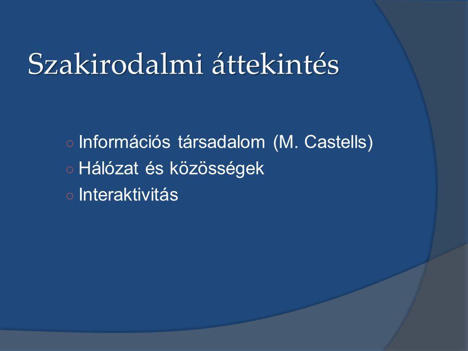 Szakirodalmi áttekintés ○ Információs társadalom (M. Castells) ○ Hálózat és közösségek ○ Interaktivitás