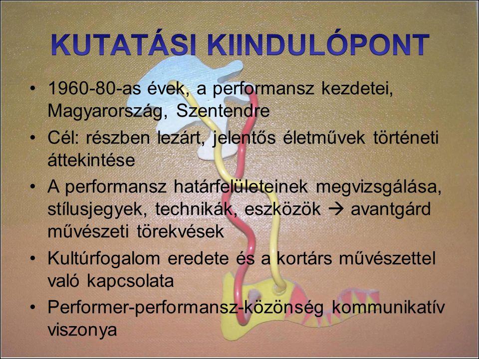 1960-80-as évek, a performansz kezdetei, Magyarország, Szentendre Cél: részben lezárt, jelentős életművek történeti áttekintése A performansz határfelületeinek megvizsgálása, stílusjegyek, technikák, eszközök  avantgárd művészeti törekvések Kultúrfogalom eredete és a kortárs művészettel való kapcsolata Performer-performansz-közönség kommunikatív viszonya