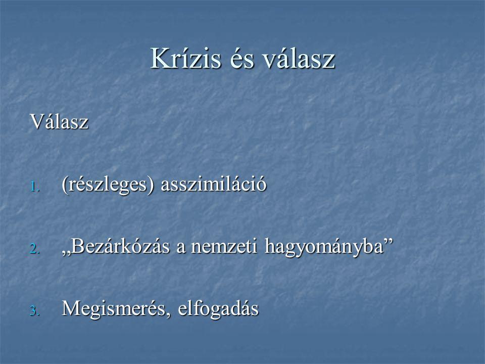 Krízis és válasz Válasz 1. (részleges) asszimiláció 2.