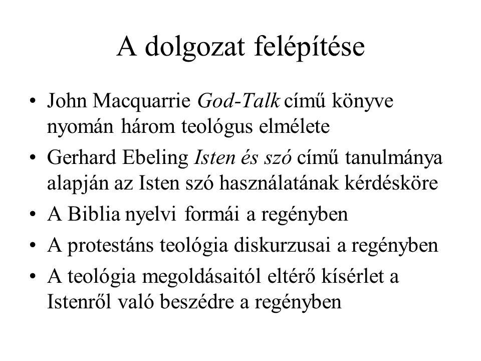 A dolgozat felépítése John Macquarrie God-Talk című könyve nyomán három teológus elmélete Gerhard Ebeling Isten és szó című tanulmánya alapján az Isten szó használatának kérdésköre A Biblia nyelvi formái a regényben A protestáns teológia diskurzusai a regényben A teológia megoldásaitól eltérő kísérlet a Istenről való beszédre a regényben