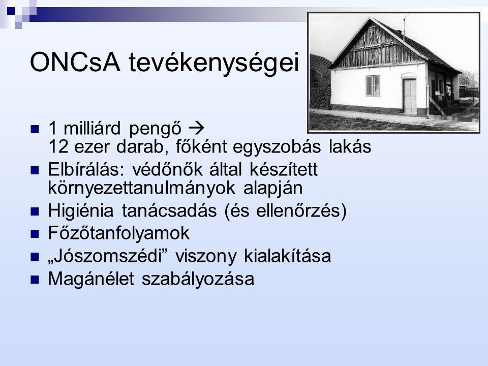 ONCsA tevékenységei 1 milliárd pengő  12 ezer darab, főként egyszobás lakás Elbírálás: védőnők által készített környezettanulmányok alapján Higiénia