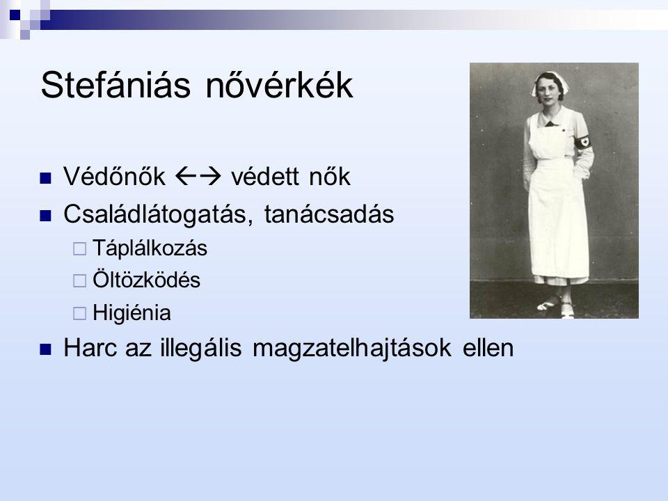 1940-es évek Illetékességi vita a Stefánia Szövetség és az OKI között A Zöld Kereszt győzelmével 1941-től egységes magyar egészségvédelem alakult ki  Állami hatáskör, egészségvédelmi szakmunka  1950-től a Népjóléti, majd Egészségügyi Minisztérium szabályozása alá kerültek a védőnők A Stefánia újraszerveződött: Országos Egészségvédelmi Szövetség  Feladata: szociális háttértevékenység