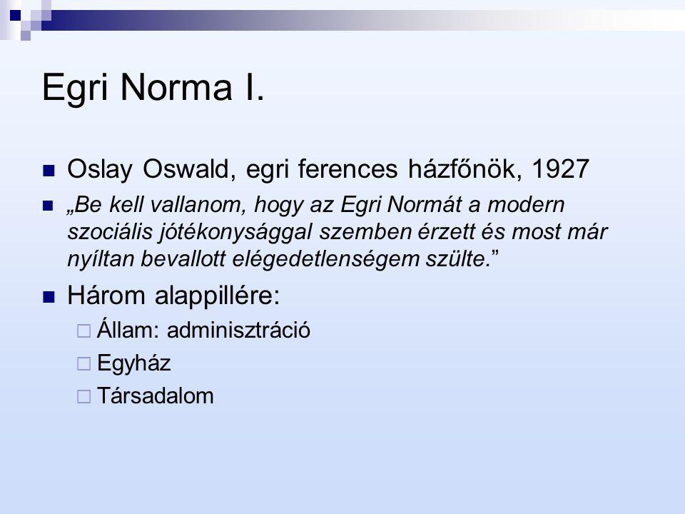"""Egri Norma I. Oslay Oswald, egri ferences házfőnök, 1927 """"Be kell vallanom, hogy az Egri Normát a modern szociális jótékonysággal szemben érzett és mo"""