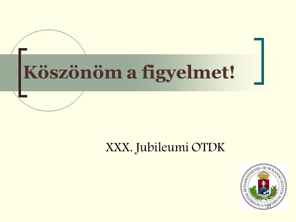 21 Köszönöm a figyelmet! XXX. Jubileumi OTDK