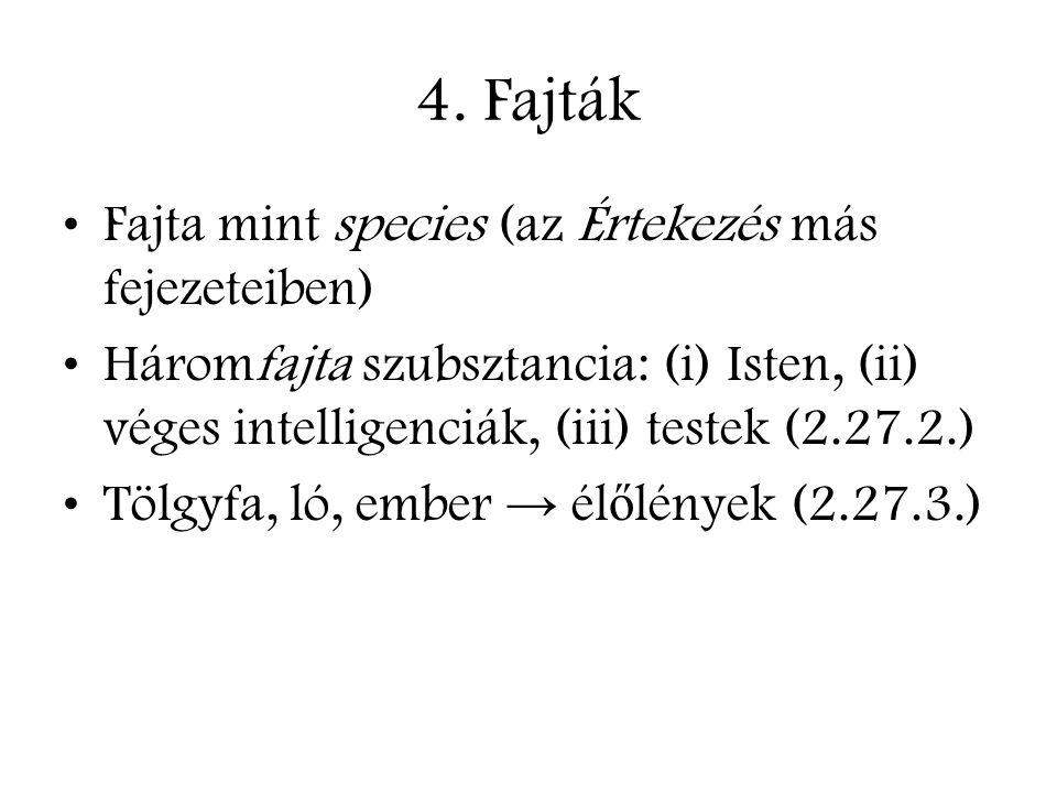 4. Fajták Fajta mint species (az Értekezés más fejezeteiben) Háromfajta szubsztancia: (i) Isten, (ii) véges intelligenciák, (iii) testek (2.27.2.) Töl