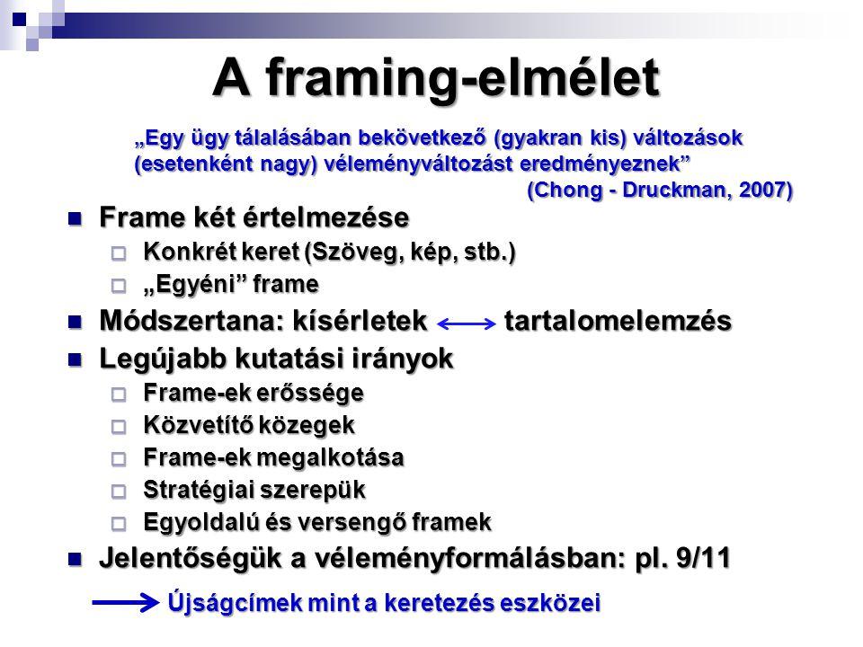 """A framing-elmélet Frame két értelmezése Frame két értelmezése  Konkrét keret (Szöveg, kép, stb.)  """"Egyéni frame Módszertana: kísérletek tartalomelemzés Módszertana: kísérletek tartalomelemzés Legújabb kutatási irányok Legújabb kutatási irányok  Frame-ek erőssége  Közvetítő közegek  Frame-ek megalkotása  Stratégiai szerepük  Egyoldalú és versengő framek Jelentőségük a véleményformálásban: pl."""