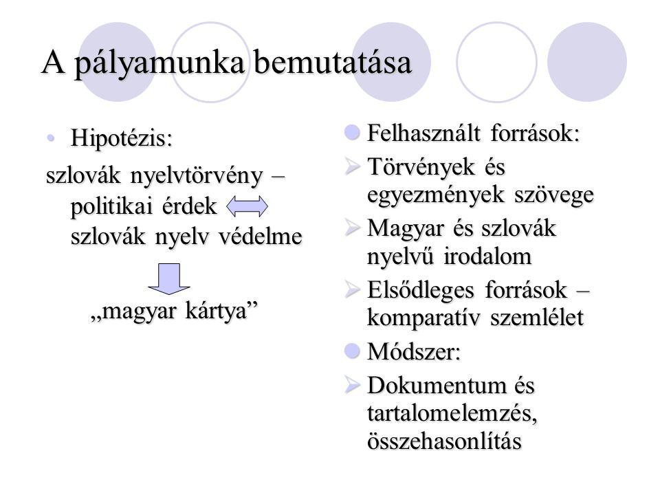 """A pályamunka bemutatása Hipotézis:Hipotézis: szlovák nyelvtörvény – politikai érdek szlovák nyelv védelme """"magyar kártya"""" """"magyar kártya"""" Felhasznált"""