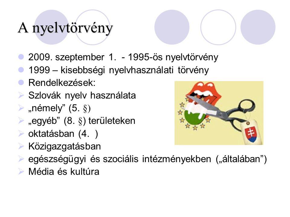 """A nyelvtörvény 2009. szeptember 1. - 1995-ös nyelvtörvény 1999 – kisebbségi nyelvhasználati törvény Rendelkezések:  Szlovák nyelv használata  """"némel"""
