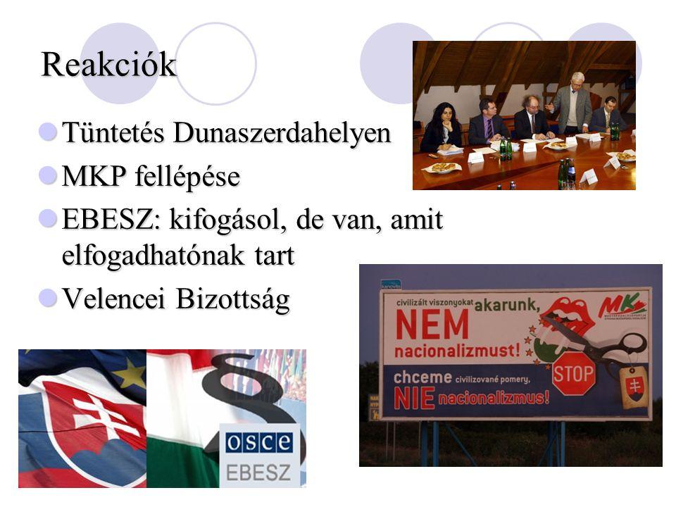 Reakciók Tüntetés Dunaszerdahelyen Tüntetés Dunaszerdahelyen MKP fellépése MKP fellépése EBESZ: kifogásol, de van, amit elfogadhatónak tart EBESZ: kifogásol, de van, amit elfogadhatónak tart Velencei Bizottság Velencei Bizottság