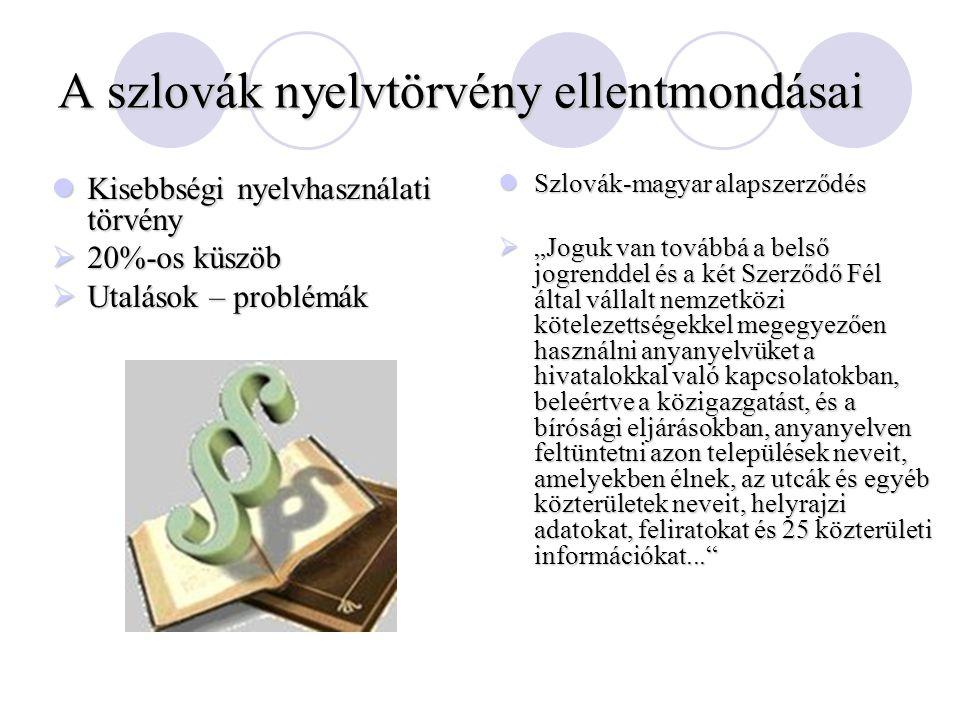 A szlovák nyelvtörvény ellentmondásai Kisebbségi nyelvhasználati törvény Kisebbségi nyelvhasználati törvény  20%-os küszöb  Utalások – problémák Szl