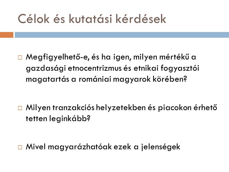 Célok és kutatási kérdések  Megfigyelhető-e, és ha igen, milyen mértékű a gazdasági etnocentrizmus és etnikai fogyasztói magatartás a romániai magyarok körében.