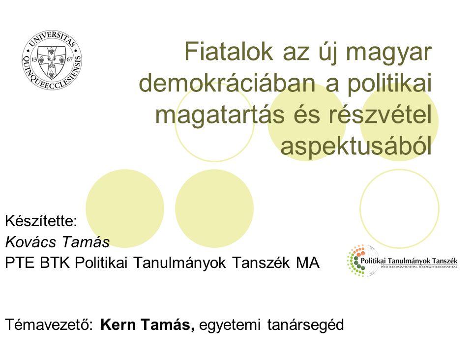 Fiatalok az új magyar demokráciában a politikai magatartás és részvétel aspektusából Készítette: Kovács Tamás PTE BTK Politikai Tanulmányok Tanszék MA