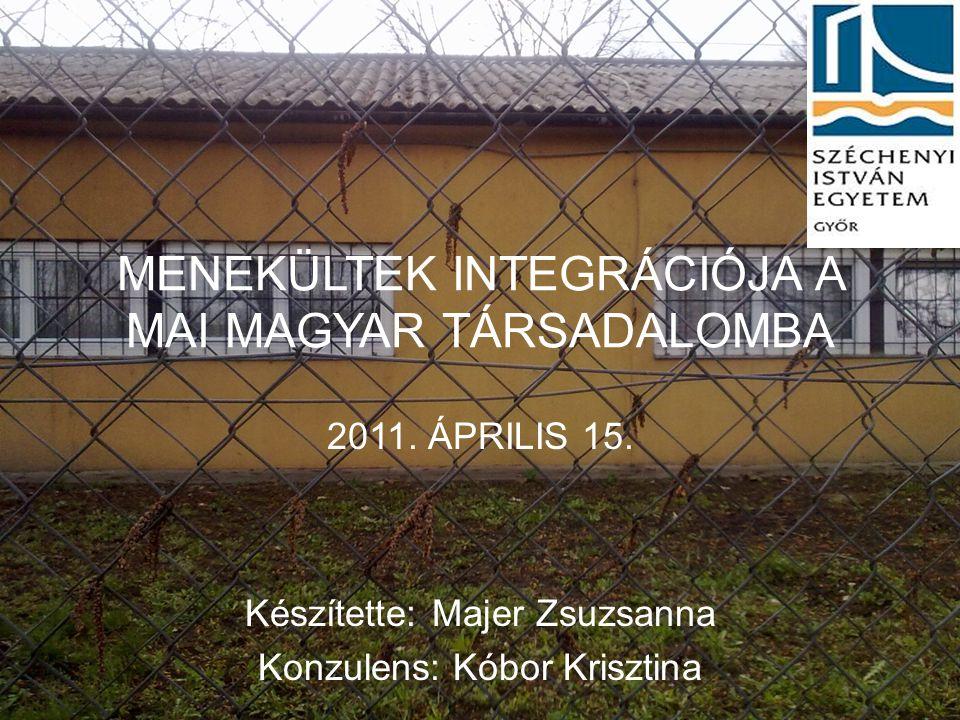 MENEKÜLTEK INTEGRÁCIÓJA A MAI MAGYAR TÁRSADALOMBA 2011. ÁPRILIS 15. Készítette: Majer Zsuzsanna Konzulens: Kóbor Krisztina