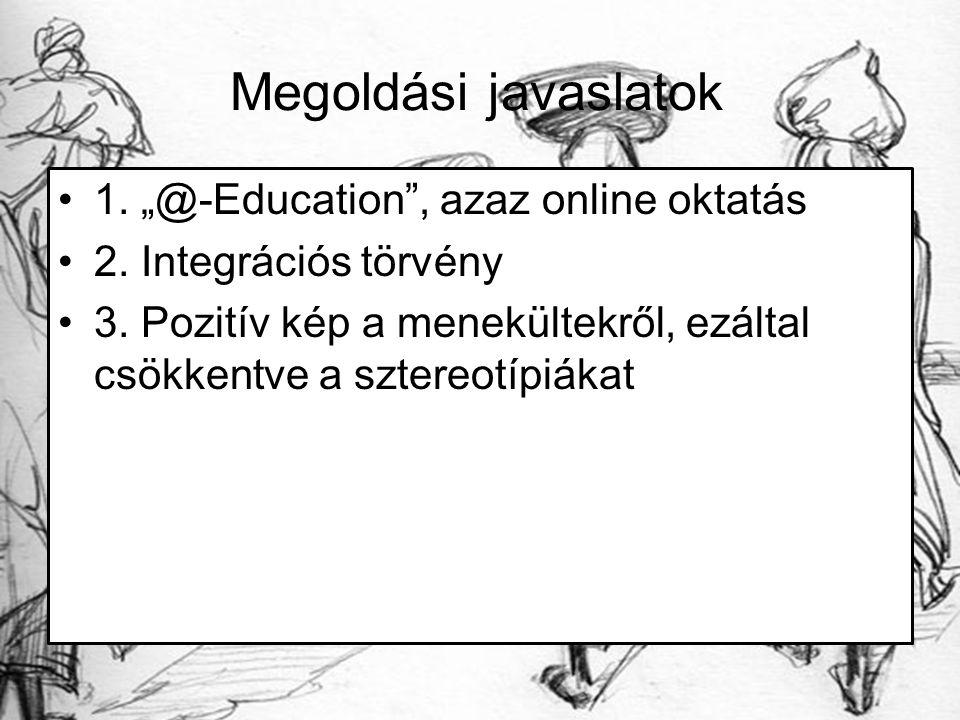 """Megoldási javaslatok 1. """"@-Education , azaz online oktatás 2."""