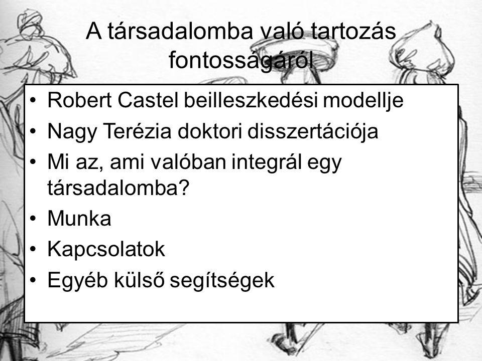 A társadalomba való tartozás fontosságáról Robert Castel beilleszkedési modellje Nagy Terézia doktori disszertációja Mi az, ami valóban integrál egy t