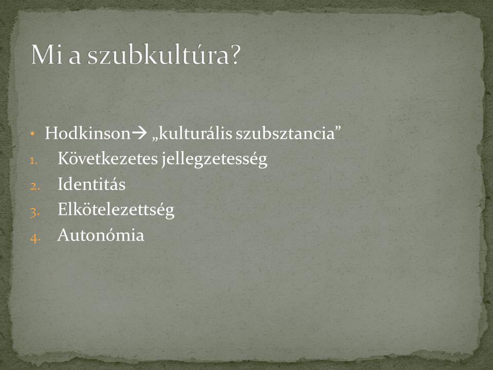 """Hodkinson  """"kulturális szubsztancia"""" 1. Következetes jellegzetesség 2. Identitás 3. Elkötelezettség 4. Autonómia"""