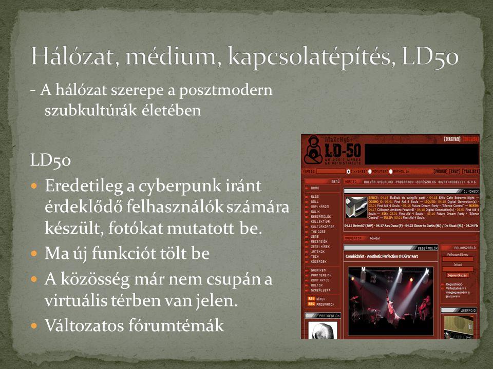 - A hálózat szerepe a posztmodern szubkultúrák életében LD50 Eredetileg a cyberpunk iránt érdeklődő felhasználók számára készült, fotókat mutatott be.