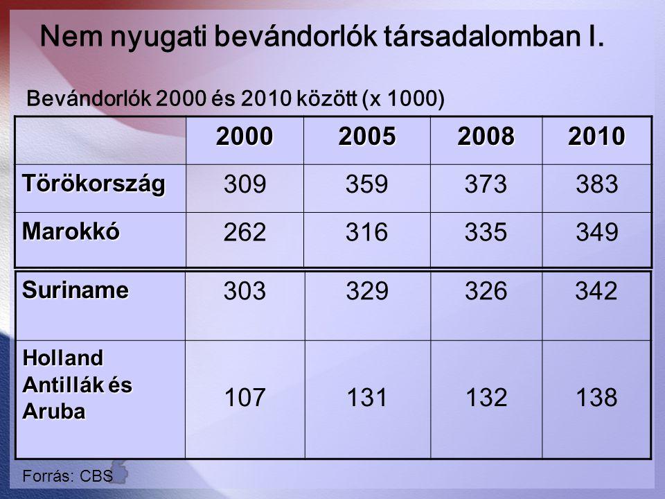 Nem nyugati bevándorlók társadalomban I.2000200520082010 Törökország 309359373383 Marokkó 262316335349 Suriname 303329326342 Holland Antillák és Aruba