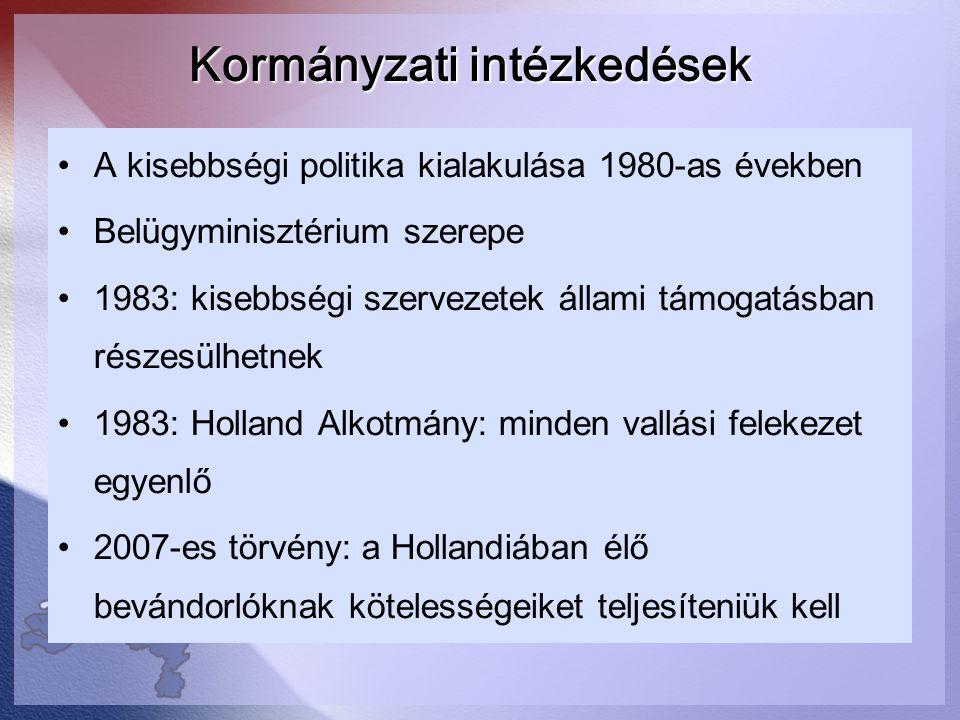 Kormányzati intézkedések A kisebbségi politika kialakulása 1980-as években Belügyminisztérium szerepe 1983: kisebbségi szervezetek állami támogatásban